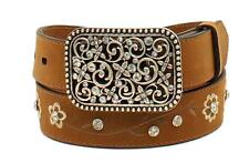 Ariat Western Girls Kids Belt Leather Flowers Crystals Oval Brown A1301644