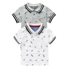 2-8Years Fashion Children Boy Summer Dinosaur Print Cotton Lapel Casual T-shirt