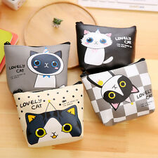 New Women Cute Cat Leather Mini Wallet Card Holder Zip Coin Purse Clutch Handbag