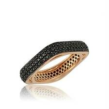 Sterling 925 Silver & Rose Gold  Black CZ 3 Line Square Eternity Ring