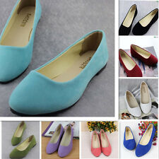 Women's Casual Flats Shoes Ballerina Ballet Loafers Suede Slip On Comfortable