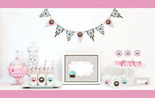 Mod Pink Brown Cupcake Girl Birthday Party Baby Shower Table Decor Kit 6 Piece