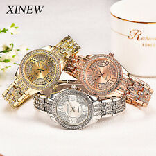 Geneva Women Ladies Crystal Stainless Steel Dress Analog Quartz Wrist Watch New