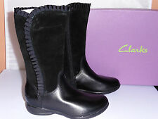 Clarks Girls Boots DAISY Ribbon Black Leather and Suede Frill Design H width