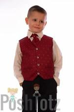 Baby Boys Formal Suit, Wedding, Pageboy, 4pc Wine & Black suits 0-3mths - 15yrs
