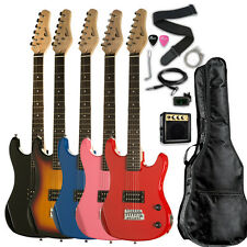 "Raptor 3/4 Scale 36"" Kid's Starter Electric Guitar Pack BLACK BLUE RED PINK"