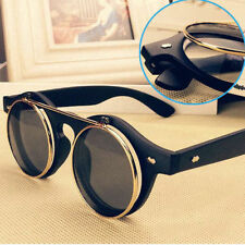 Hot Steampunk Goth Goggles Glasses Retro Flip Up Round Sunglasses Vintage RS