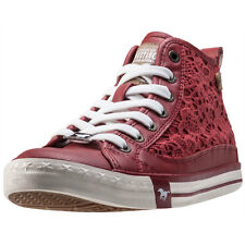 Mustang High Top With Embroidery Womens Trainers Red New Shoes