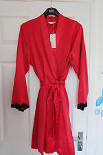 M&S SLEEP Red Mix Satin Long Sleeve Dressing Gown with Lace Detail