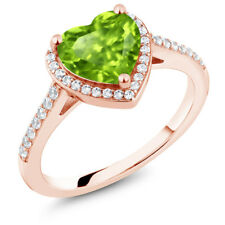 1.71 Ct Heart Shape Green Peridot 18K Rose Gold Plated Silver Engagement Ring