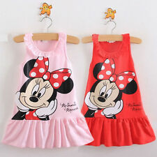 Lovely Baby Girls Minnie Mouse Dress Kids Cartoon Tops Clothes Party Dress 0-5Y