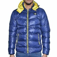 ADIDAS - DOWN JACKET HOODIE - MAN - ADIDAS DOWN JACKET 01 - NAVY BLUE YELLOW NEW
