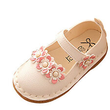 Cute Children Baby Girls Floral Soft Leather Mary Jane Shoes Kids Floral No-Slip