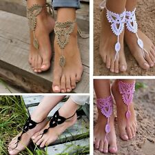 Wedding Dance Beach Sandals Crochet Barefoot Anklet Knit Anklet Foot Jewelry