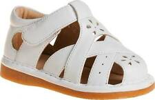 Close Toe White Squeaky Leather Sandals Size 1 2 3 4 5 6 7 RUNS BIG