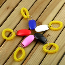 Dog Pet Click Clicker Training Obedience Agility Trainer Aid Wrist Strap A^C
