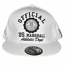 US MARSHALL - SNAPBACK CAP - ADJUSTABLE SIZE - WHITE BLACK NEW