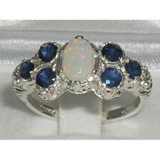 Solid English 925 Sterling Silver Ladies Large Opal & Sapphire Art Nouveau Ring