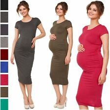 Happy Mama. Womens Pregnancy Maternity Stretch Bodycon Dress Short Sleeve. 183p