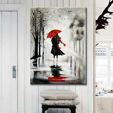 Unframed Handpainted Red Umbrella Sexy Girl Oil Painting On Canvas Home Decor
