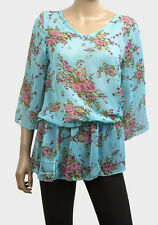 New Floral Print Light Blue Chiffon Kaftan Tunic Top Size M and L FREEPOST
