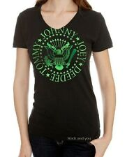 Ramones T-Shirt Green Seal Logo punk rock V-Neck fit Girls Tee S M L XL NWT