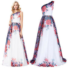 Sexy One Shoulder Bridesmaid Long Chiffon Gowns Evening Prom Party Boho Dress