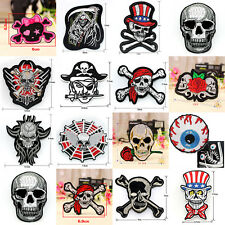Punk Skull Embroidered Applique Sew Iron On Patch Badge Hat Clothes Craft DIY