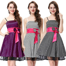 Straps Polka Dots Satin Elastic Formal  Evening Prom Party Short Dress Bow tie