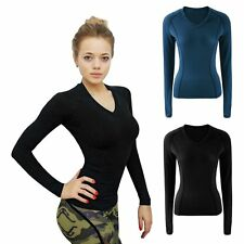 Fashion Women's  V Neck Slim Top Long Sleeve Blouse Ladies Casual Tops T-Shirt
