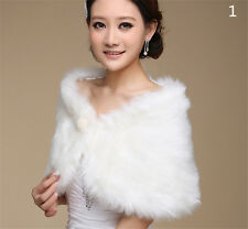 Women Fur Faux Fur Bolero White Wedding Bridal Wraps Wedding Bolero Jacket FO