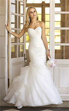 Stock New White/Ivory Mermaid Organza Wedding dress Bridal gown UK Size 6-18