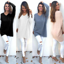 Womens V-Neck Chunky Knitted Oversized Sweater Sweatshirt Jumper Blouse Tops NEW