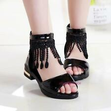 New Spring Summer Kids Young Girls Tassel Princess Mid-top Open-toed Sandals