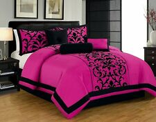 Hot Pink and Black Queen or King Comforter Set 7 Pc Bedding w Shams