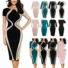 Women Elegant Crew Neck Bodycon Dress Cocktail Evening Party Pencil Midi Dresses