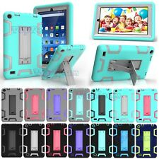 Hybrid Heavy Duty Rubber Drop Proof Hard Case Cover +Kickstand For Amazon Fire 7