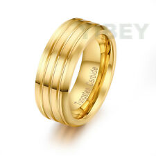 Tungsten Carbide Gold Tone Grooved Stripe Wedding Band MENS Bridal Promise Ring