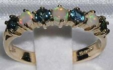 High Quality Solid 14K Yellow Gold Natural Fiery Opal & Sapphire Band Ring