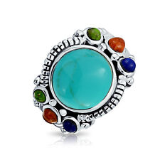 Bling Jewelry Natural Compressed Turquoise Silver Multistone Cocktail Ring
