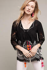 NEW Anthropologie Embroidered Cara Lace Blouse by Hemant & Nandita, Black, Sz XS