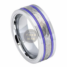 Men's 8mm Pipe Cut tungsten Ring w/ Hammered Center & Purple Stripe Side TS7120