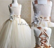 Flower Girl Princess Tulle Dress Party Pageant Wedding Bridesmaid Prom Ball Gown