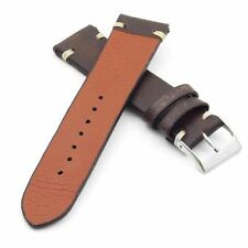 StrapsCo Vintage Distressed Brown w / White Stitching Leather Band Watch Strap