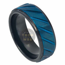 Men's 8mm 2-Tone Stepped Edge Tungsten Ring w/ Vertical Grooved Center TS7340