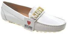 Moschino 25575 Vernice Women White Patent Loafer Shoes
