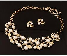 Graceful Pearl Gold & Silver Jewelry Set Vintage Fashion Necklace & Stud Earring