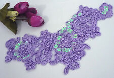 1 pc Middle Purple Embroideries w/ Beaded & Sequin Collar Neckline Patch A120