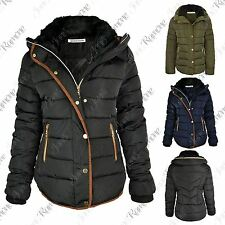 New Womens Quilted Puffer Bubble Padded Faux Fur Collar Hooded Parka Jacket Coat