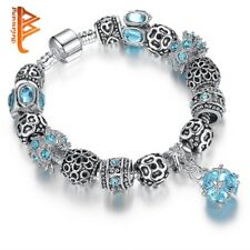European Authentic BEADS jewelry silver plated owl beads pink/white crystal Char
